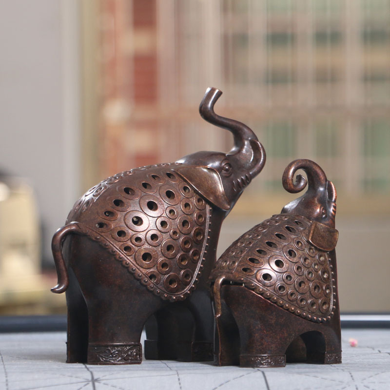 Antique copper Alloy Mother And Child Incense Censer Figurines Miniature Elephant Incense Burner Ornament Decoration Accessories in Figurines Miniatures from Home Garden