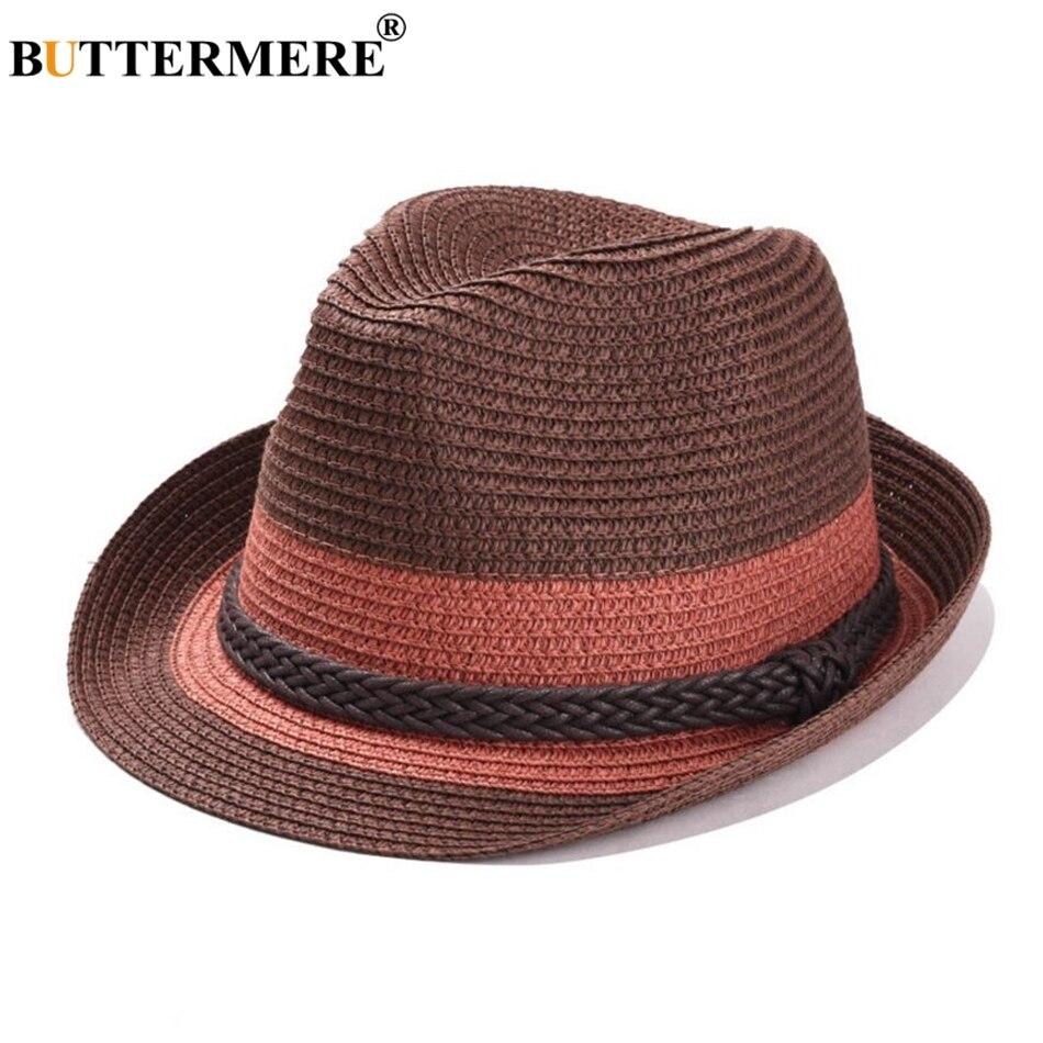 Buttermere Musim Panas Matahari Topi Wanita Jerami Panama Sandal Pria M1 Linen Biru Putih Bergaris Pantai Pinggiran Lebar Merek Jazz