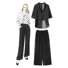 Women's 2 pieces set polka dot Shirts wide-leg pants 2019 summer women elegant pantsuits A238 polka dot print capri pants