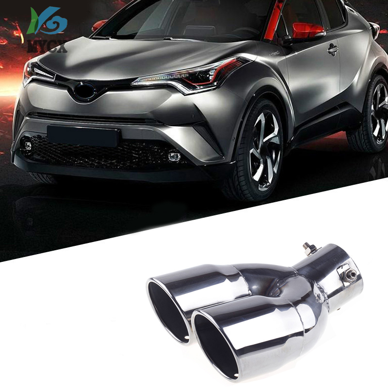 Stainless Rear Exhaust Muffler Tip End Pipe Trim For Toyota C-HR CHR 2018-2019