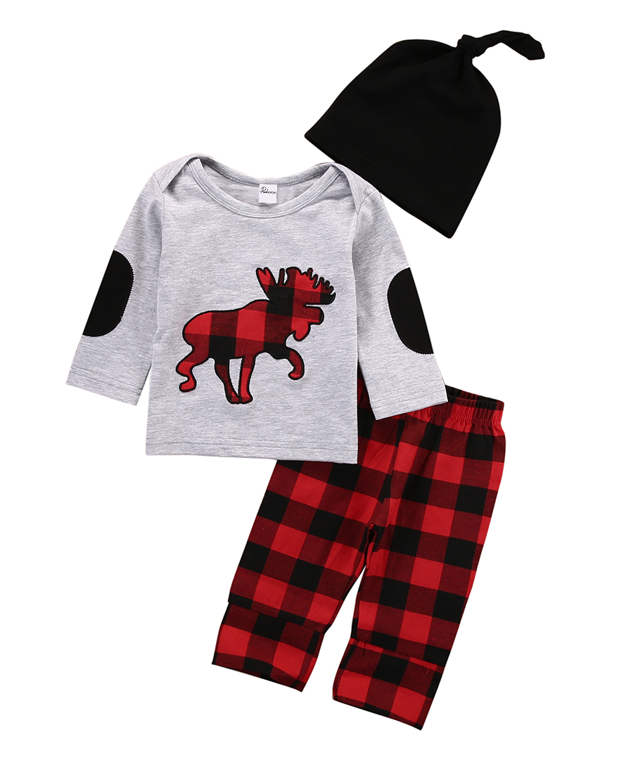 Newborn Toddler Kids Baby Girls Cotton Outfit Clothes Deer Long Sleeve T-shirt Tops+Long Plaid Pants Hat  3PCS Set toddler kids baby girls clothing cotton t shirt tops short sleeve pants 2pcs outfit clothes set girl tracksuit
