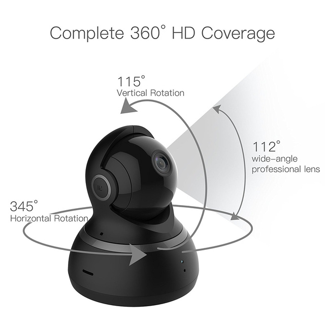 YI Dome Camera 1080P Pan/Tilt/Zoom Wireless IP Security Surveillance System Complete 360 Degree Coverage Night Vision Black