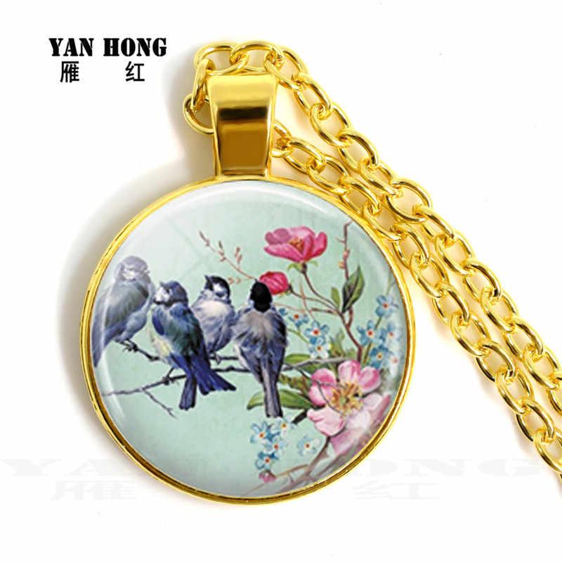 青鳥にハングアップ 25 ミリメートルガラスクリスタルネックレス、ピンクの花ガラスキャベツセーターのネックレス。誕生日ギフト