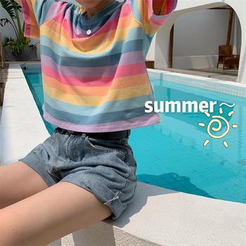 Damskie letnie koszulki japonia Ulzzang piękne Retro tęczowe paski pani tunika na krótki rękaw kobiet słodkie Ins Chic Tshirt dla kobiet Kpop