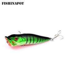 FISHINAPOT 1Pcs 8cm/12g Big Popper Fishing Lures Crankbait Wobbler Isca Poper Hard Lure Bass Carp Fishing Accessories 3D Eyes