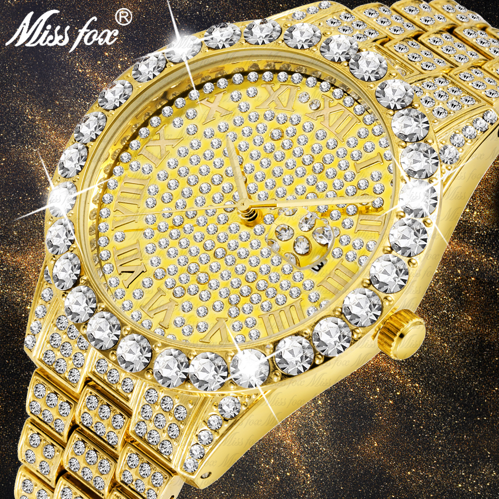 MISSFOX Men's Watch 2020 Top Selling Luxury Brand Gold Men Fashion Watches Men Big Diamond Bracelet Luxury Watch Men Gift Box