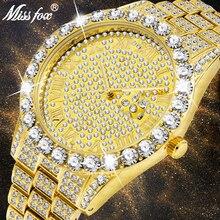 Missfoxメンズ腕時計2020トップ販売高級ブランドゴールドの男性のファッション腕時計男性ビッグダイヤモンドブレスレット高級時計男性ギフトボックス