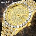 Reloj MISSFOX para hombre, 2019, relojes de moda de marca de lujo de marca dorada para hombre, pulsera de diamantes grandes, reloj de lujo para hombre caja de regalo
