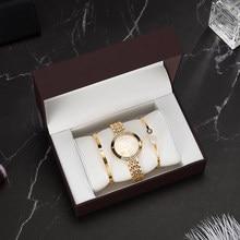 84634a33 3 шт. комплект новый бренд часы для женщин розовое золото часы с  бриллиантовым браслетом Роскошные