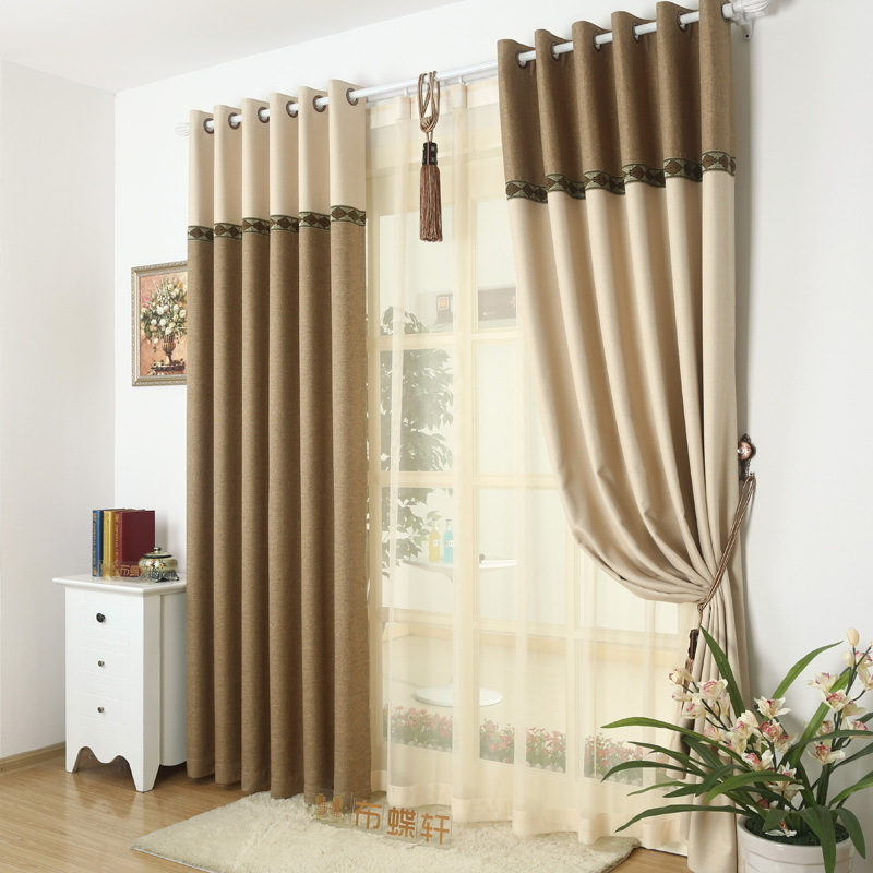 95% Blackout Thick Window Curtain Fabric For Bedroom Linen Lace ...