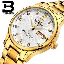 Подлинная Роскошная швейцарская бренд BINGER Мужские автоматические механические часы кожаный ремешок Сапфир Водонепроницаемый Бизнес