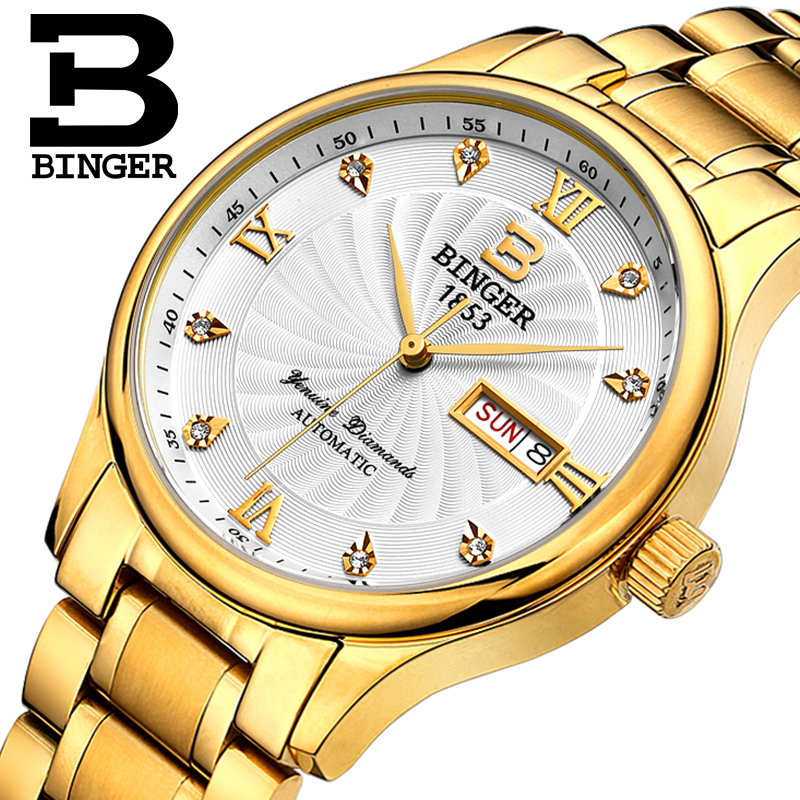 Genuine Luxury Switzerland BINGER Brand Men automatic mechanical watch leather strap sapphire waterproof business free shipping authentic hot luxury switzerland binger brand men automatic mechanical full steel leather strap fashion male watch free shipping