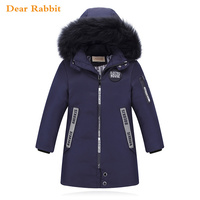 30 Degree High Quality New Boy's Long Down Jackets For Youth Children big Boy clothing Winter Parka real Fur Coat Kids Clothes