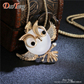 DuoTang Trendy Chubby Owl Necklace Fashion Rhinestone Jewelry Statement Women Necklace Chain Long Necklaces & Pendants M0008