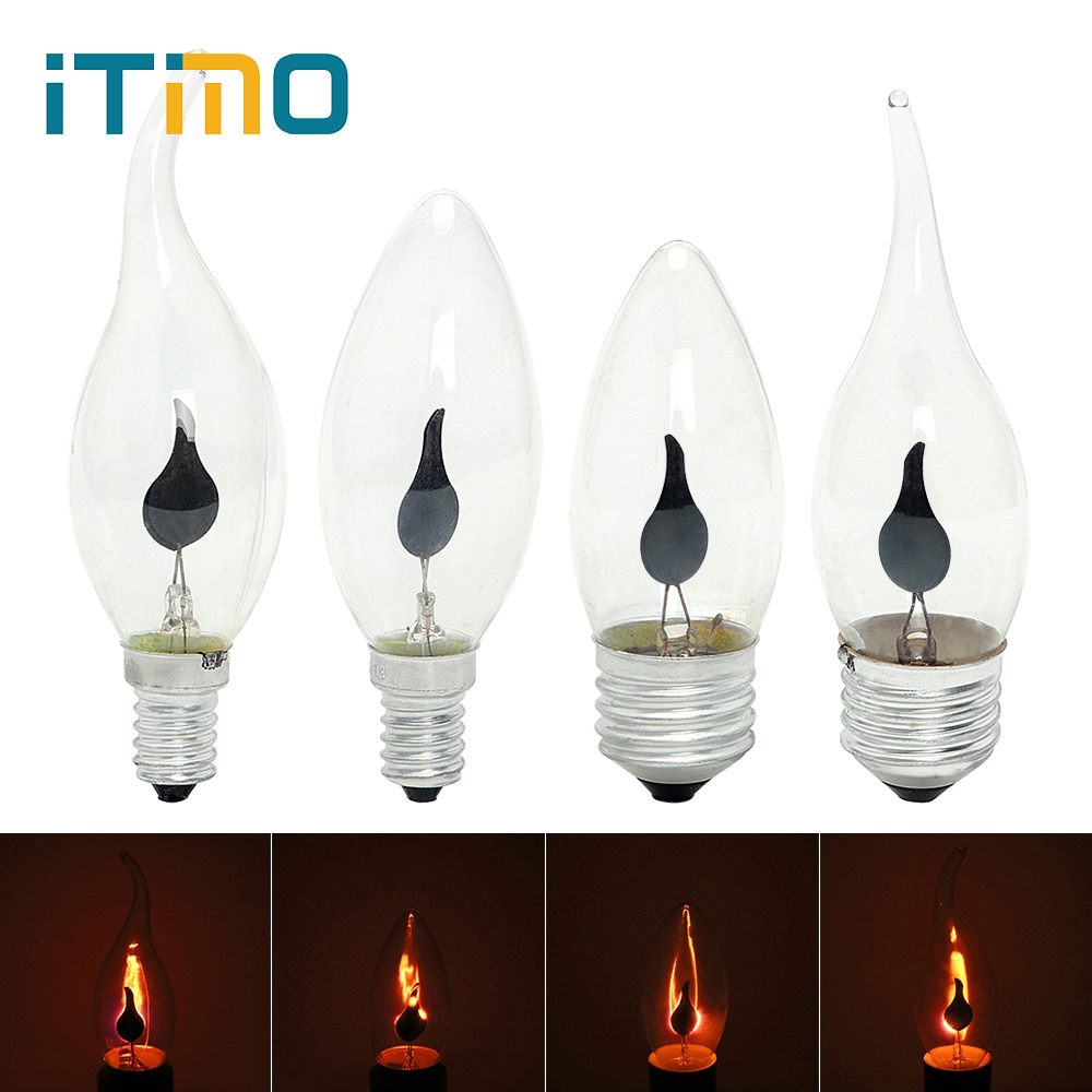ITimo 3W Flame Fire Lighting E14 E27 Vintage Flickering Effect Novel Candle Tip Lamp Tungsten Orange Red LED Edison Bulb