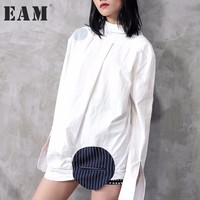 EAM 2018 New Spring Lapel Long Sleeve White Loose Big Size Sriped Split Joint Big