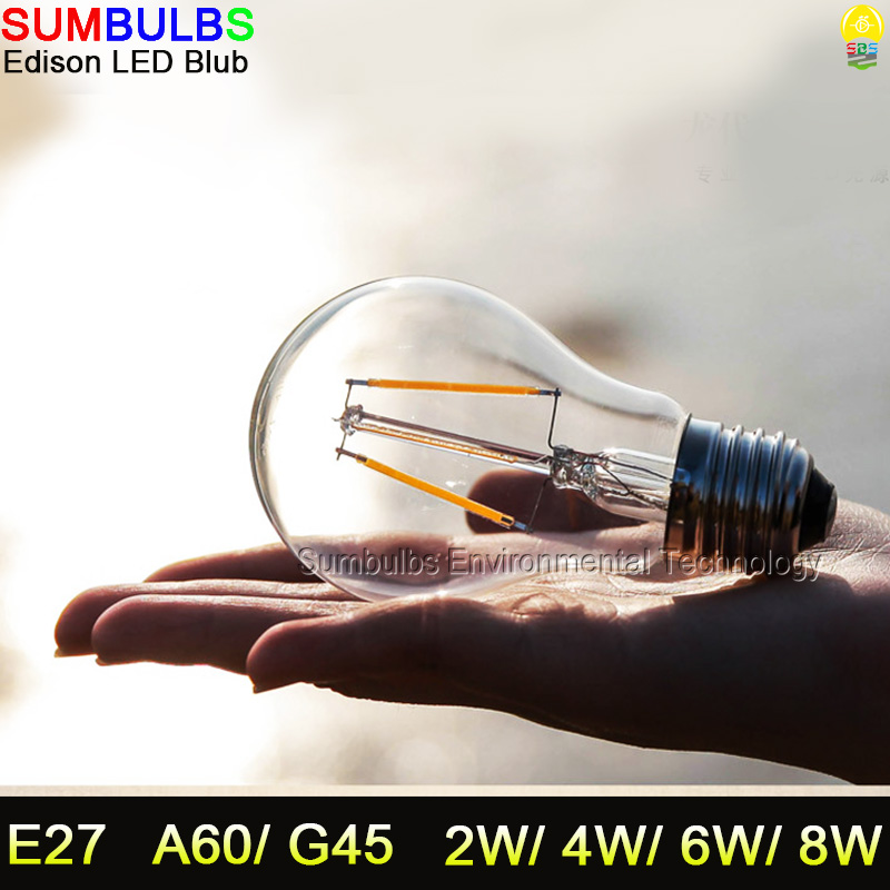 E27 Edison LED Ball Bulb Lights110V 220V 2W 4W 6W 8W Warm Cold White Retro Vintage LED Filament Light Lamps 5pcs e27 led bulb 2w 4w 6w vintage cold white warm white edison lamp g45 led filament decorative bulb ac 220v 240v