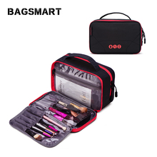 BAGSMART Travel Organizer Toiletry Bag WaterProof Comestic Bag with Brush Case Portable bag For Make up Brush Skin Care Products