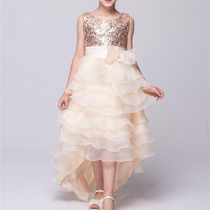 Girl Dress Party Wedding Princess Blue 2016 Summer Sleeveless Dresses Children Clothes Chlidren Kids Party Costume E612