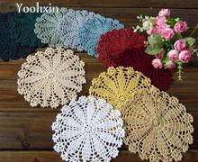 DIY Round Cotton Place table mat lace pad cloth crochet placemat doilies Breakfast cup mug holder home coaster kitchen accessory