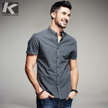 ФОТО new 2016 summer mens fashion shirts 100% cotton brand clothing gray man's wear slim fit short sleeve male clothes plus size 5859