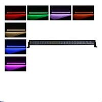 Straight 50 288w 4D CreeLed Light Bars Offroad RGB Halo Ring Kit Driving Fog Lamp Tundra