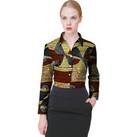Tailor Made Women S African Print Shirt Dashiki Ceremonial Clothes Turndown Collar Ladies Long Sleeve Shirts