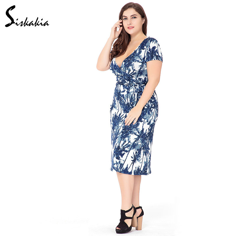 Siskakia big sizes office dress for women 2018 Summer 6xl plus size