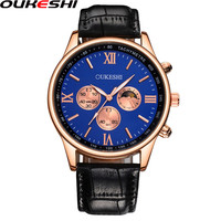 OUKESHI Brand Men Watch Fashion Casual Leather Business Quartz Watch Men Golden Waterproof Watch Relogio Masculino OKS56