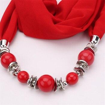 RUNMEIFA 2019 New Fashion Solid C iffon Pendant Necklace Scarf for Women Spring Muslim Head