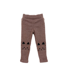 Стрейч кот девочка малыш теплые леггинсы милый печати брюки