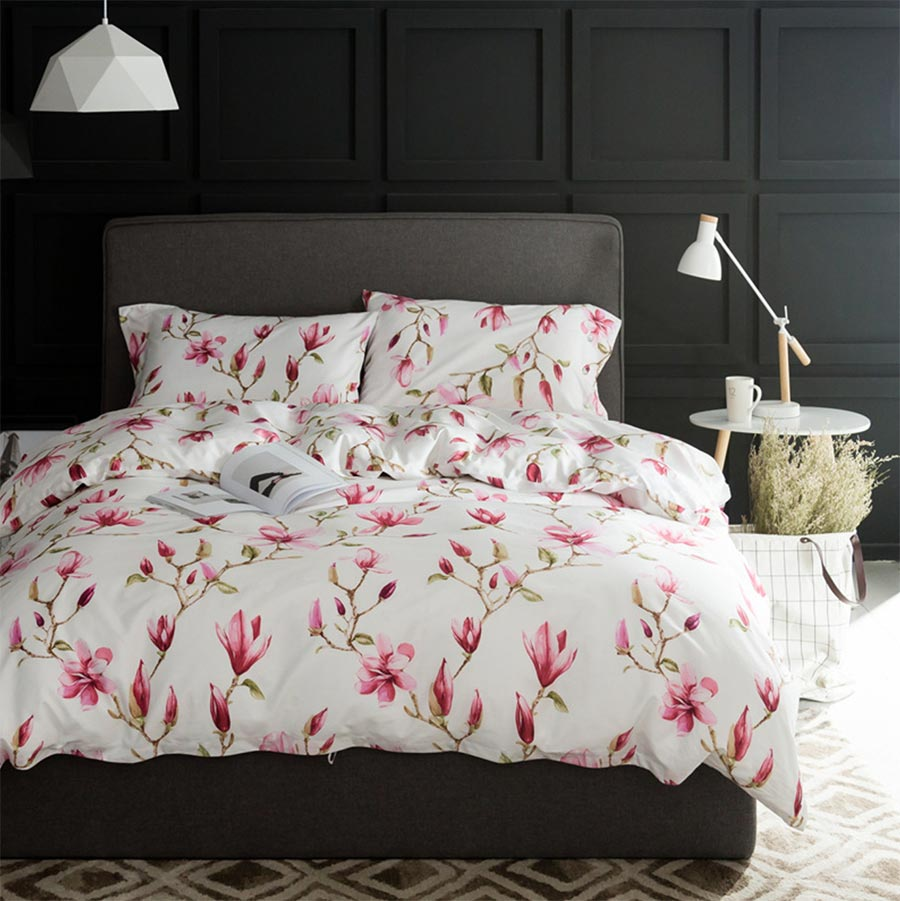 Floral cotton bed sheets - European American Rustic Bedding Set Adult Girl 100 Cotton Full Queen King Floral Home