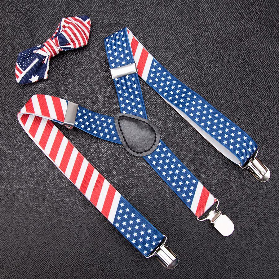 Kids Suspenders United States Pattern With Bowtie Children Bow Tie Set Boys Adjustable Braces Girls Baby Wedding Accessories