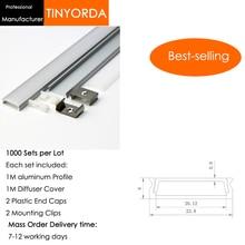 Tinyorda 1000 шт.(длина 1 м) светодиодный профиль Alu светодиодный профиль канала для 27 мм Светодиодные полосы света 1 м светодиодный профиль Alu профильный кабельный канал