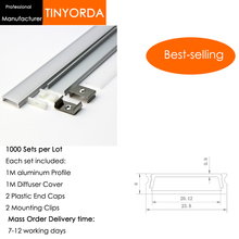 Tinyorda 1000Pcs (1M Length) Led Alu Profile  Channel Profil for 23mm LED Strip Light 1M channel