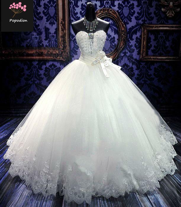 Popodion wedding dress plus size lace strapless wedding gowns rhinestone bride dress vestido de noiva WED90490