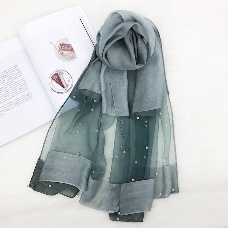 Pearl Designer Women Scarf Fashion Summer Silk Scarves Hollow Floral Lady Shawls Wraps Pashmina Foulard Stoles