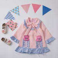 Girl dress Autumn back to school dress cartoon bear pink color princess dress