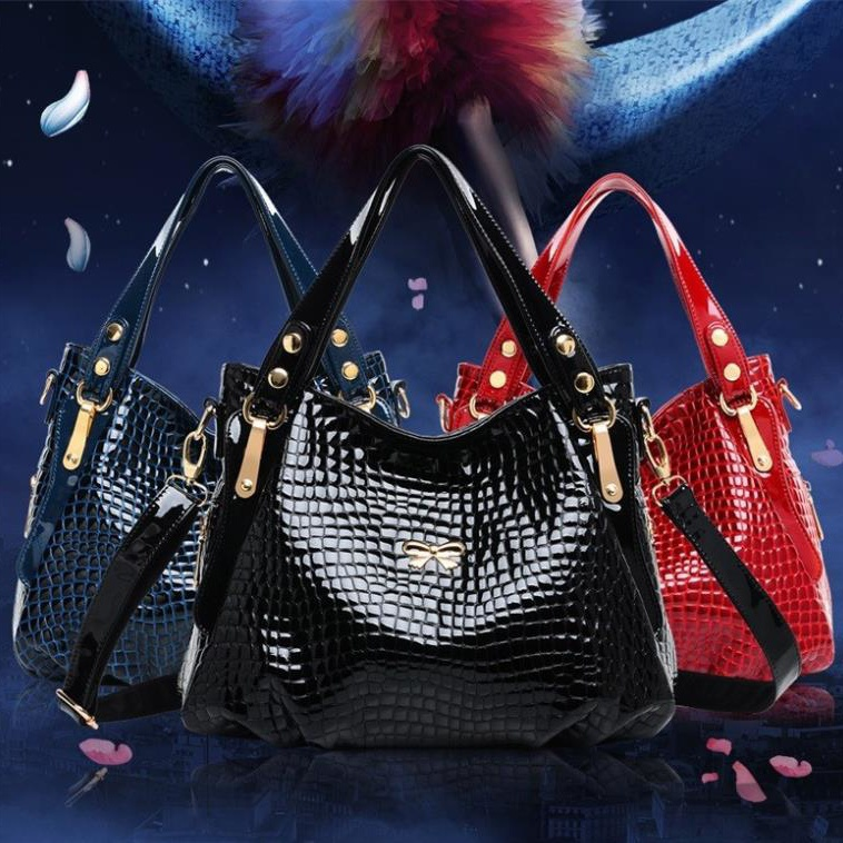 2015 fashion women bag patent leather women handbag hot shoulder bag crocodile pattern women messenger bags new design tote 2016 fashion spring and summer crocodile pattern japanned leather patent leather handbag one shoulder cross body bag for women