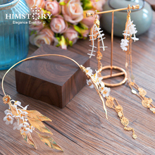 Himstory Wedding Hair Accessories Baroque Brides Tiara Headbands White Flower Headpiece Gold Leaves Hairwear