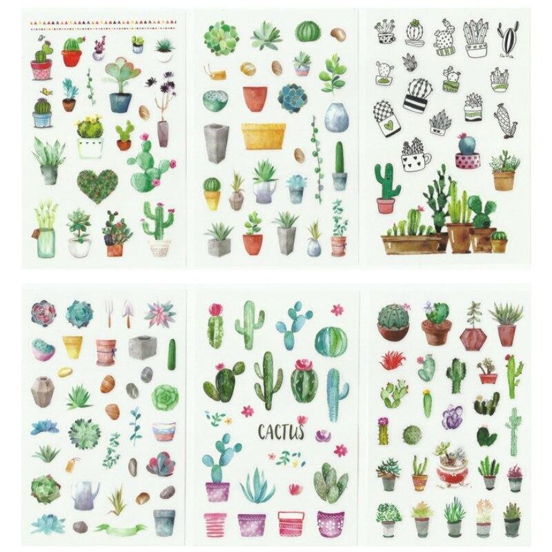 Купить с кэшбэком 6sheets/pack Flower Cactus Plant Decorative Paper Stickers Scrapbooking Sticky Note Label DIY Diary Album Stickers Office Supply