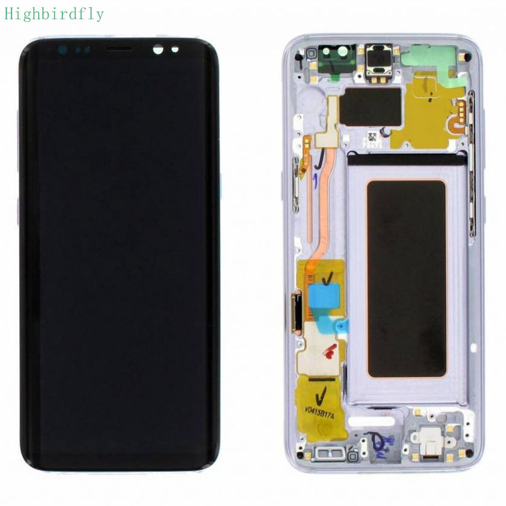 Highbirdfly Per Samsung Galaxy s8 g950f/s8 plus g955F G955 Lcd schermo di Visualizzazione Dello Schermo + Touch In Vetro DIgitizer Telaio di Montaggio amoled