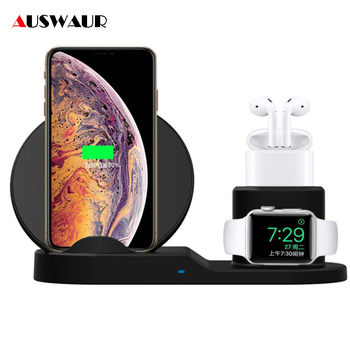 3 In 1 Fast Wireless Charger for Apple Watch iWatch 1 2 3 4 Airpods  QI Wireless Charger Dock for iPhone XR XS MAX
