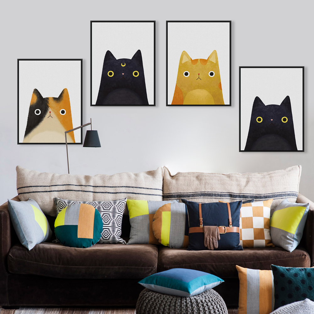 Modern watercolor kawaii cat face a4 poster print japanese for Cute home accessories