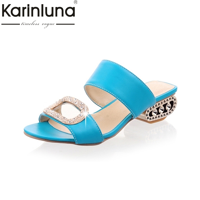 KARINLUNA Big Size 32-43 Women Summer Rhinestone Shoes Woman Gladiator Flip Flops Medium Heel Open Toe Platform Sandals Footwear bonjomarisa 2017 fashion summer sandles big size 32 43 cutout open toe thick heel less platform women shoes ladies footwear