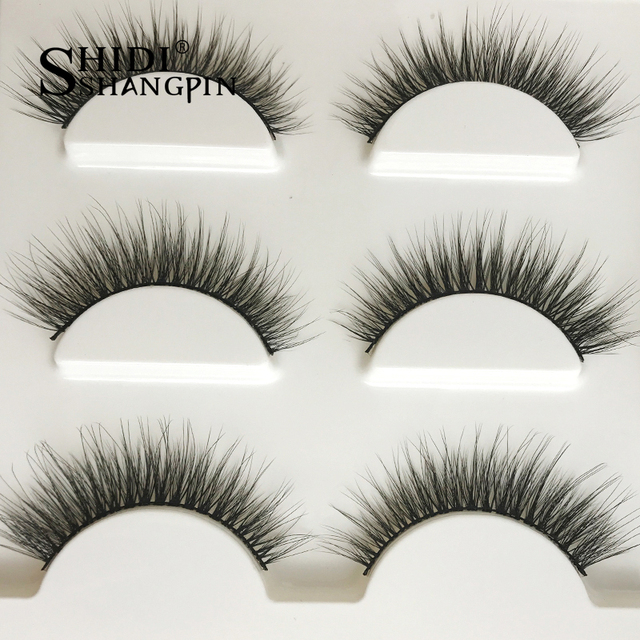New 3 pairs natural false eyelashes fake lashes long makeup 3d mink lashes extension eyelash mink eyelashes for beauty #X11 2