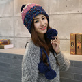 Зимняя шапка женская мода зима осень и зима вязаная шапка трикотажные женщин тепловая мяч ухо протектор крышка