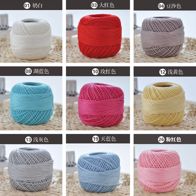 3 Solid Color Lace Yarn 100cotton Yarn For Crocheting Fine Combed