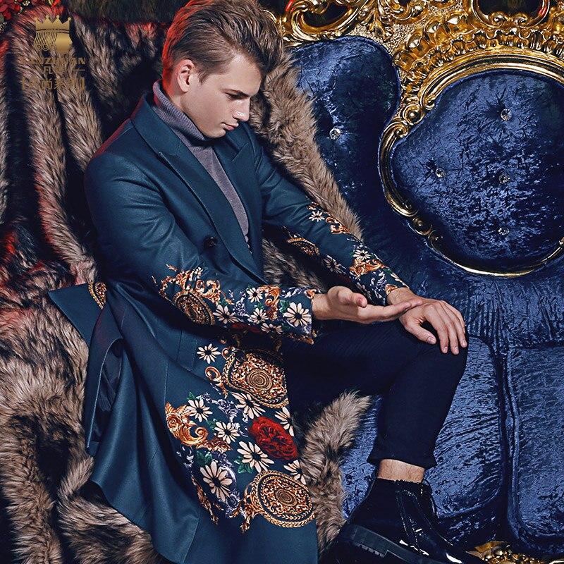 شحن مجاني fanzhuan نمط جديد 2017 الأزياء عارضة رجل الذكور الشتاء الرجال رجل طويل نحيف معطف دافئ المطبوعة 710141 دعوى طوق-في صوف مختلط من ملابس الرجال على  مجموعة 1