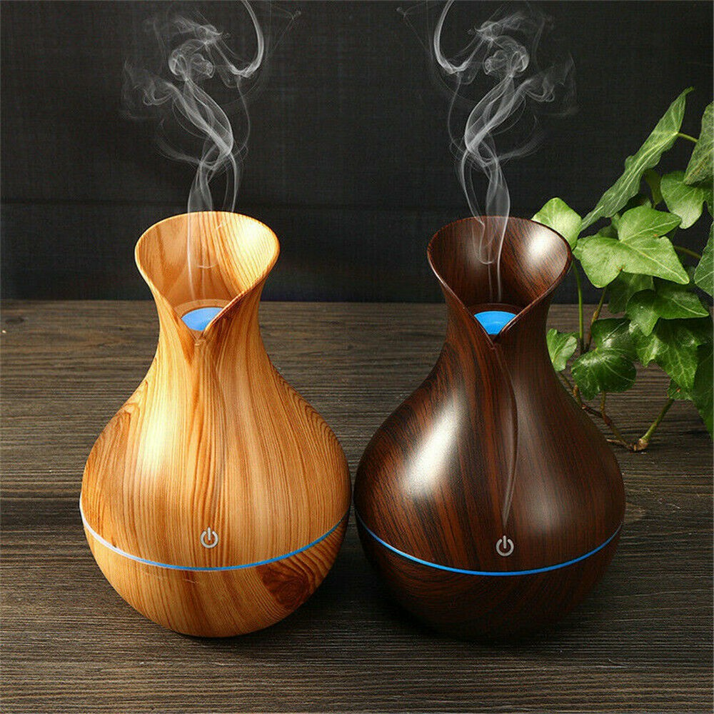 N20D Humidifier Aroma Oil Diffuser Wood Grain Ultrasonic Wood Air Humidifier USB Cool Mini Mist Maker LED Lights Home 130ml